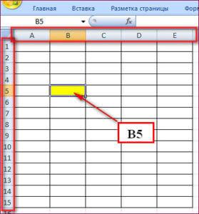Таблица Excel и координаты ячеек