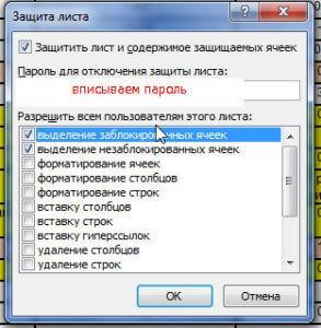 вписываем пароль листа